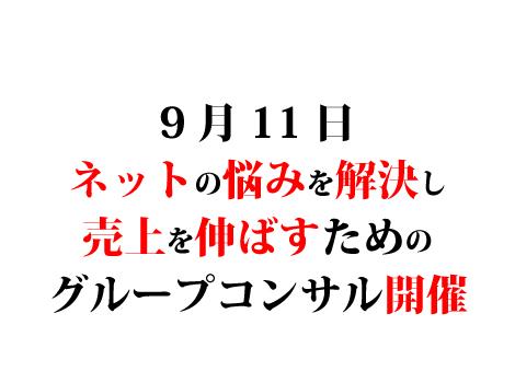 9月11日ネットの悩みを解決し売上を伸ばすためのグループコンサル開催